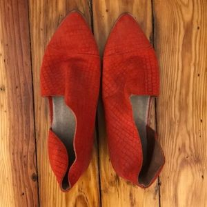 Free people pointed toe red booties made in spain